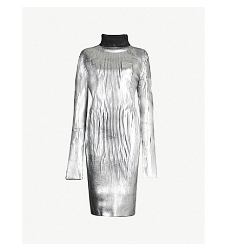 MM6 MAISON MARGIELA Turtleneck metallic knitted dress (Silver