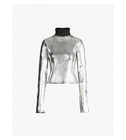 MM6 MAISON MARGIELA Turtleneck metallic knitted sweater (Silver