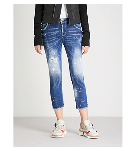 leg DSQUARED2 Cropped high Cropped Blue straight rise distressed DSQUARED2 jeans HSS0qdx1