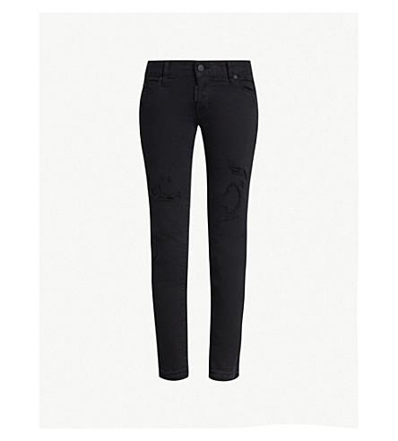 DSQUARED2 Ripped straight stretch-denim jeans (Black