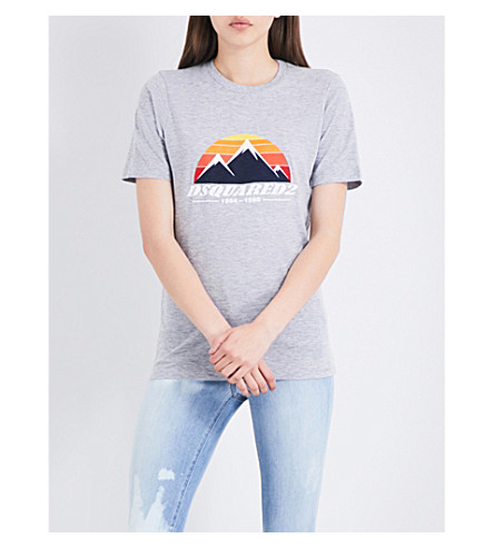 DSQUARED2 Logo-print cotton-jersey T-shirt (Grey+melange