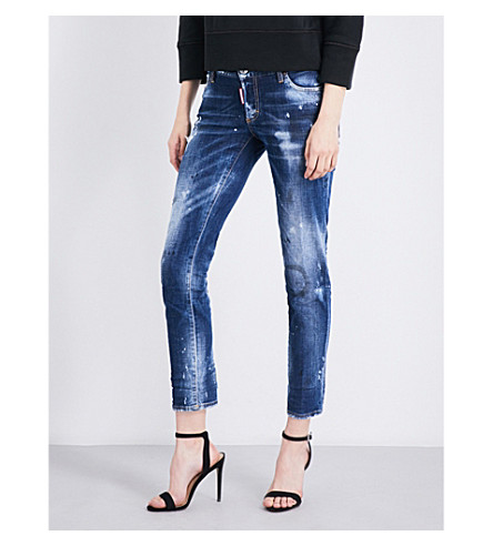 DSQUARED2 Jennifer distressed skinny cropped low-rise jeans (Blue