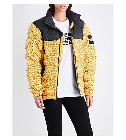NORTH FACE 1992 Nuptse shell puffer jacket (Yellow+dome+print