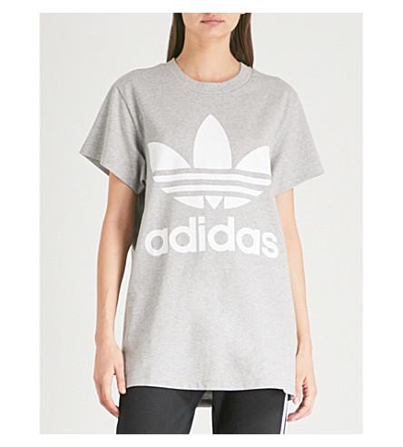ADIDAS ORIGINALS Trefoil cotton-jersey T-shirt (Medium+grey+heather
