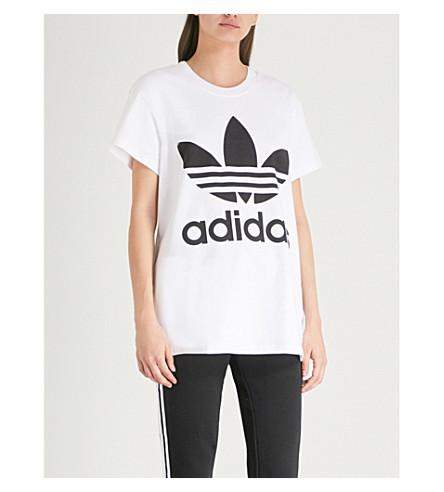 ADIDAS ORIGINALS Trefoil cotton-jersey T-shirt (White/black