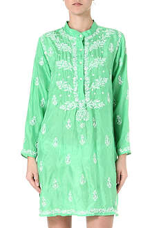 JULIET DUNN Embroidered silk boyfriend shirt