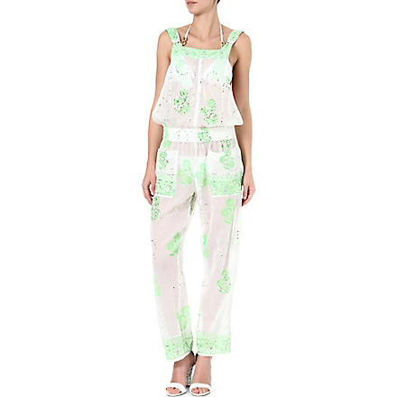 JULIET DUNN Embellished printed jumpsuit (White/neon green