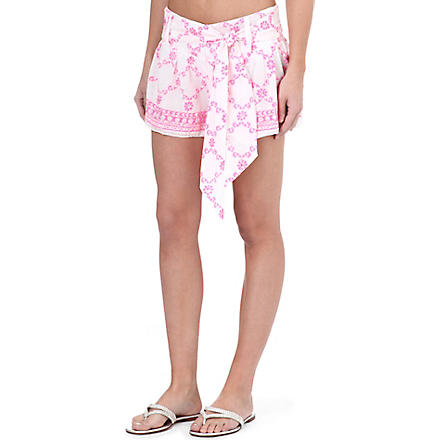 JULIET DUNN Embellished printed shorts (White/neon pink