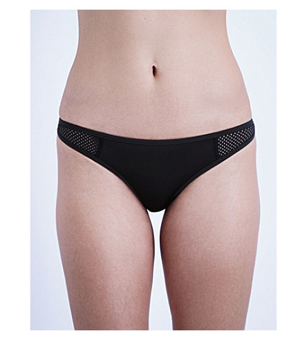STELLA MCCARTNEY Mesh panelled neoprene bikini bottoms (Black