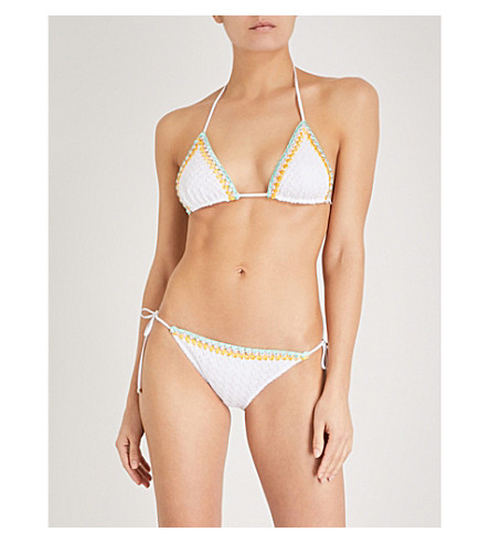 MISSONI Metallic-trimmed knitted-lace bikini (White