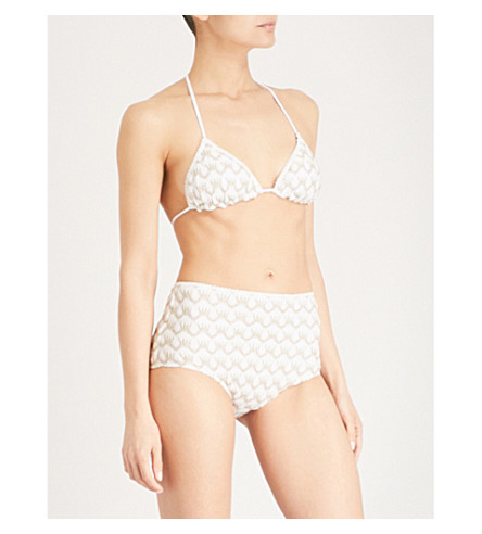 MISSONI Metallic-weave bikini (Cream