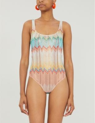 Striped metallic swimsuit