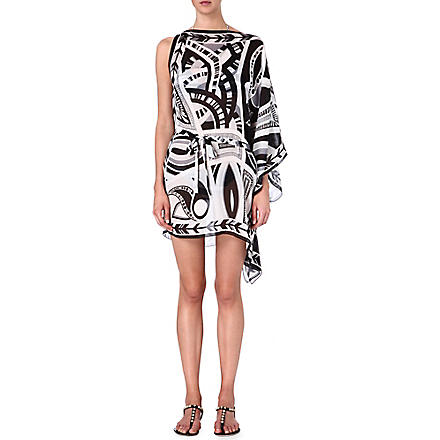 EMILIO PUCCI Silk kaftan with belt (Bianco/nero