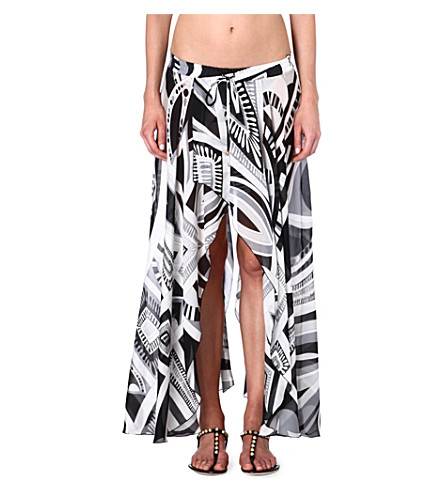 EMILIO PUCCI Printed silk skirt (Bianco/nero