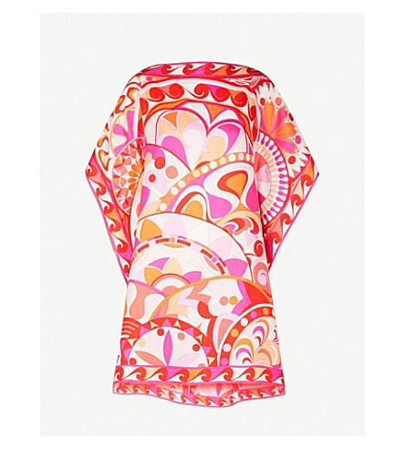 EMILIO PUCCI Signature-print silk-twill scarf dress (Arancio