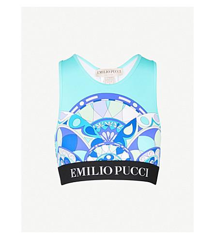 EMILIO PUCCI Geometric-print stretch sports top (Turchese