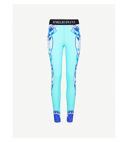 EMILIO PUCCI Geometric-print stretch leggings (Turchese