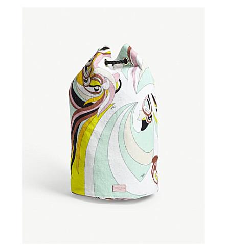 EMILIO PUCCI Printed cotton duffle bag (Azzurro+menta