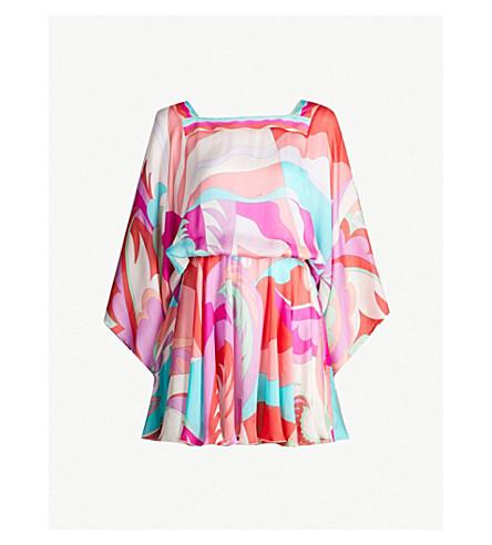 EMILIO PUCCI Fluted-sleeve printed silk mini dress (067 corallo/fuxia
