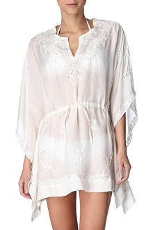 JULIET DUNN Floral embroidered silk poncho