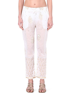 JULIET DUNN Embroidered cotton trousers