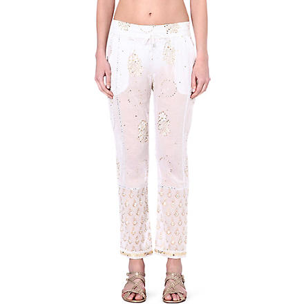 JULIET DUNN Embroidered cotton trousers (White/white