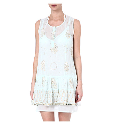 JULIET DUNN Embroidered cotton dress (Turquoise/white