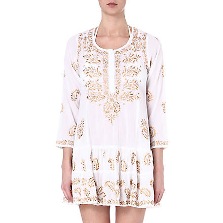JULIET DUNN Embroidered cotton kaftan (White/dull gold