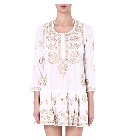 JULIET DUNN Embroidered cotton kaftan (White/dull gold