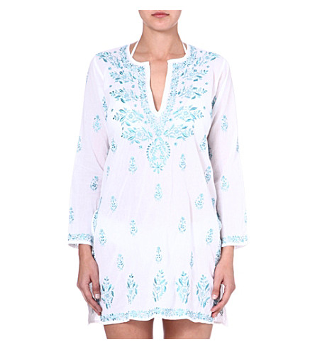 JULIET DUNN Embroidered cotton kaftan (White/turquoise