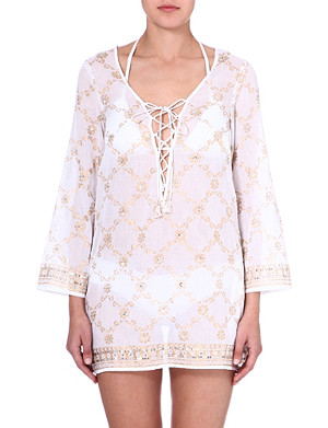 JULIET DUNN Sequin-embellished cotton kaftan