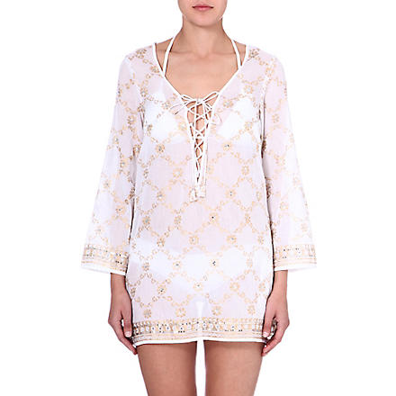 JULIET DUNN Sequin-embellished cotton kaftan (White/gold
