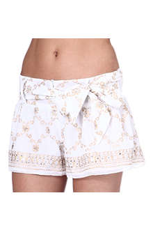 JULIET DUNN Sequin-embellished cotton shorts