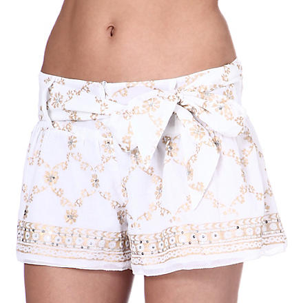 JULIET DUNN Sequin-embellished cotton shorts (White/gold