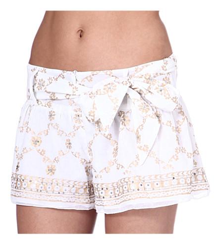 JULIET DUNN Sequin-embellished cotton shorts (White/gold