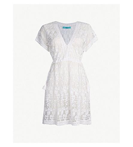 MELISSA ODABASH Adelina floral lace kaftan (White