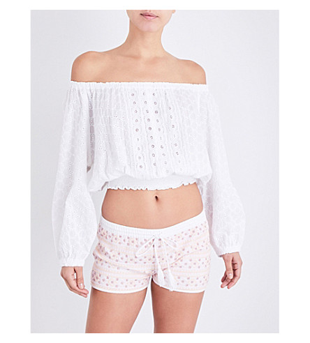MELISSA ODABASH Adriana off-the-shoulder cropped top (White