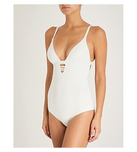 MELISSA ODABASH Amazon V-neck swimsuit (Cream