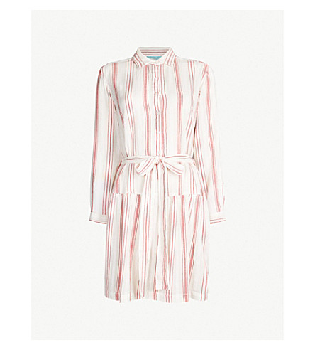 MELISSA ODABASH Amelia striped cotton dress (Red stripe