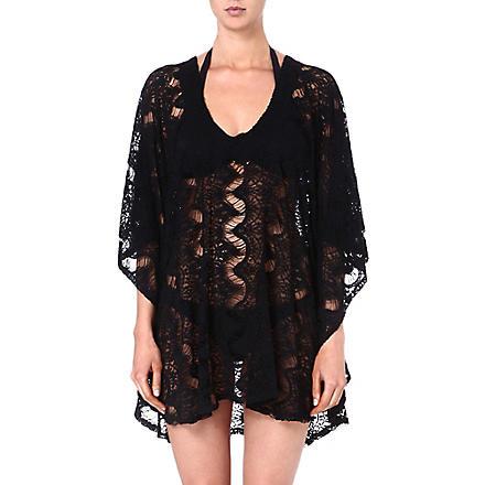MELISSA ODABASH Cammy crochet short kaftan (Black