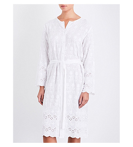 MELISSA ODABASH Ceclia floral-embroidered woven dress (White
