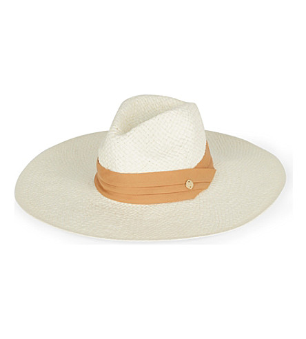 MELISSA ODABASH Pleated-trim woven paper dakota hat (Cream
