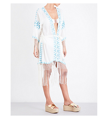 MELISSA ODABASH Dana embroidered poplin kaftan (Cream/teal
