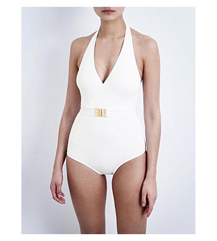 MELISSA ODABASH Dominica halterneck swimsuit (White