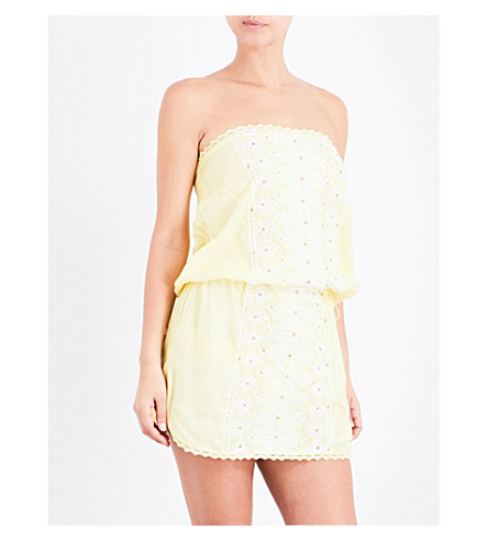 MELISSA ODABASH Dru bandeau floral-embroidered mini dress (Yellow/white
