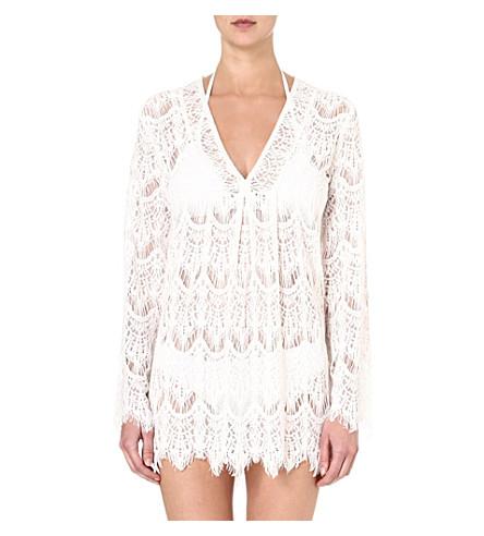MELISSA ODABASH Short crochet dress (Cream