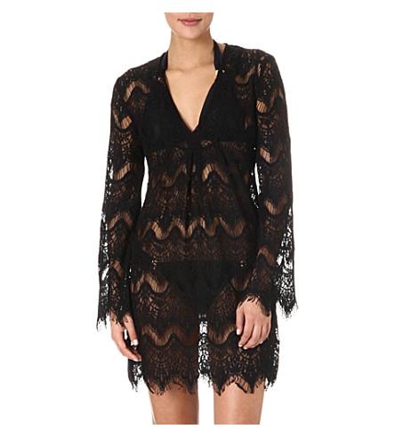MELISSA ODABASH Elizabeth crochet tunic (Black