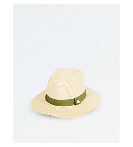 MELISSA ODABASH Grosgrain-trim woven paper fedora hat (Ivory/olive