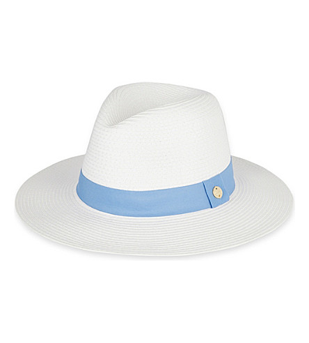 MELISSA ODABASH Grosgrain-trim woven paper fedora hat (White/denim