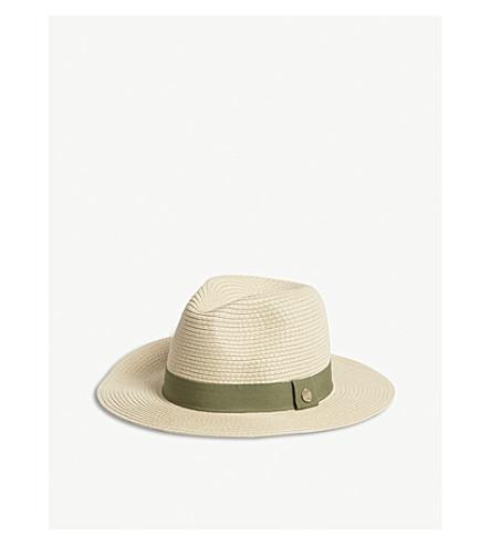 MELISSA ODABASH 宽边编织的软呢帽帽子 (象牙 + 橄榄色